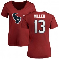 Women's Braxton Miller Houston Texans Name & Number Logo Slim Fit T-Shirt - Red