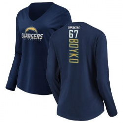 Women's Brett Boyko Los Angeles Chargers Backer Long Sleeve T-Shirt - Navy