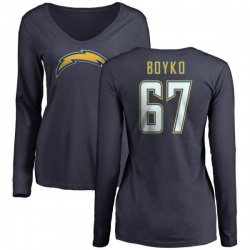 Women's Brett Boyko Los Angeles Chargers Name & Number Slim Fit V-Neck Long Sleeve T-Shirt - Navy