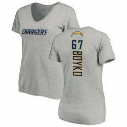 Women's Brett Boyko Los Angeles Chargers Name & Number Slim Fit V-Neck T-Shirt - Heather Gray