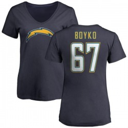 Women's Brett Boyko Los Angeles Chargers Name & Number Slim Fit V-Neck T-Shirt - Navy