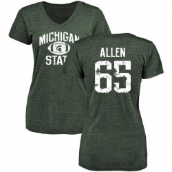 Women's Brian Allen Michigan State Spartans Distressed Football Tri-Blend V-Neck T-Shirt - Green