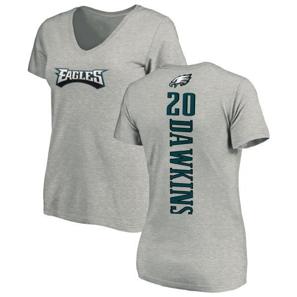 the latest 50d94 b5f77 Women's Brian Dawkins Philadelphia Eagles Backer V-Neck T-Shirt - Ash -  Teams Tee