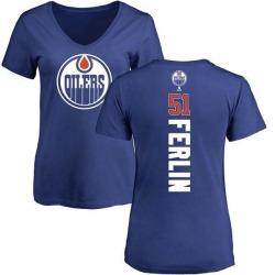 Women's Brian Ferlin Edmonton Oilers Backer T-Shirt - Royal