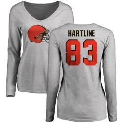 Women's Brian Hartline Cleveland Browns Name & Number Logo Slim Fit Long Sleeve T-Shirt - Ash