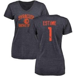 Women's Brisly Estime Syracuse Orange Distressed Basketball Tri-Blend V-Neck T-Shirt - Navy