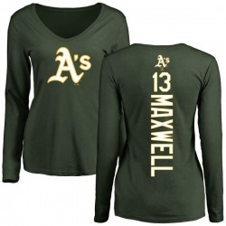 Women's Bruce Maxwell Oakland Athletics Backer Slim Fit Long Sleeve T-Shirt - Green