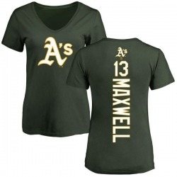 Women's Bruce Maxwell Oakland Athletics Backer Slim Fit T-Shirt - Green