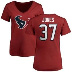 Women's Bryce Jones Houston Texans Name & Number Logo Slim Fit T-Shirt - Red