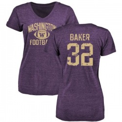 Women's Budda Baker Washington Huskies Distressed Football Tri-Blend V-Neck T-Shirt - Purple