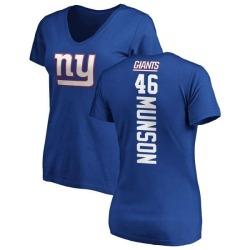 Women's Calvin Munson New York Giants Backer Slim Fit T-Shirt - Royal