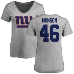 Women's Calvin Munson New York Giants Name & Number Logo Slim Fit T-Shirt - Ash
