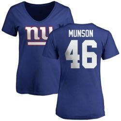Women's Calvin Munson New York Giants Name & Number Logo Slim Fit T-Shirt - Royal