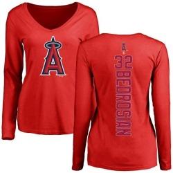 Women's Cam Bedrosian Los Angeles Angels Backer Slim Fit Long Sleeve T-Shirt - Red