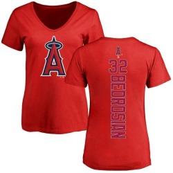 Women's Cam Bedrosian Los Angeles Angels Backer Slim Fit T-Shirt - Red
