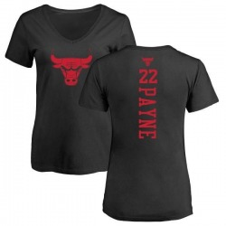 Women's Cameron Payne Chicago Bulls Black One Color Backer Slim-Fit V-Neck T-Shirt