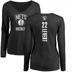 Women's Caris LeVert Brooklyn Nets Black Backer Long Sleeve T-Shirt