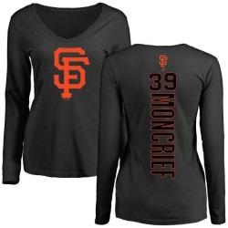 Women's Carlos Moncrief San Francisco Giants Backer Slim Fit Long Sleeve T-Shirt - Black