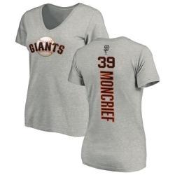 Women's Carlos Moncrief San Francisco Giants Backer Slim Fit T-Shirt - Ash