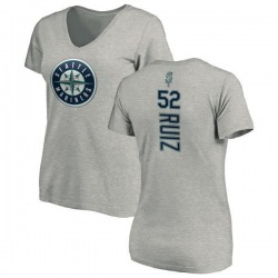 Women's Carlos Ruiz Seattle Mariners Backer Slim Fit T-Shirt - Ash