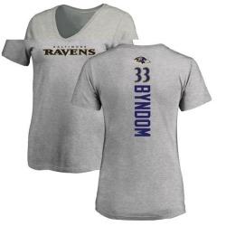 Women's Carrington Byndom Baltimore Ravens Backer V-Neck T-Shirt - Ash