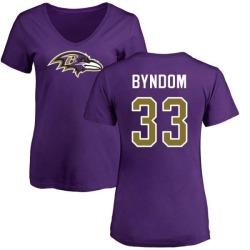 Women's Carrington Byndom Baltimore Ravens Name & Number Logo Slim Fit T-Shirt - Purple