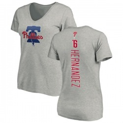 Women's Cesar Hernandez Philadelphia Phillies Backer Slim Fit T-Shirt - Ash