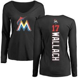 Women's Chad Wallach Miami Marlins Backer Slim Fit Long Sleeve T-Shirt - Black