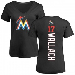 Women's Chad Wallach Miami Marlins Backer Slim Fit T-Shirt - Black
