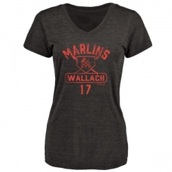 Women's Chad Wallach Miami Marlins Base Runner Tri-Blend T-Shirt - Black