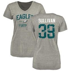 Women's Chandon Sullivan Philadelphia Eagles Heather Gray Distressed Name & Number Tri-Blend V-Neck T-Shirt