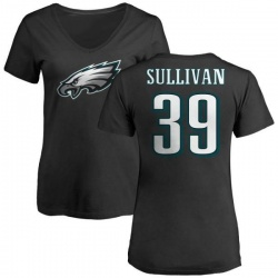 Women's Chandon Sullivan Philadelphia Eagles Name & Number Logo Slim Fit T-Shirt - Black