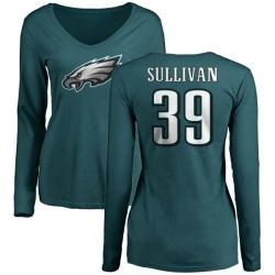 Women's Chandon Sullivan Philadelphia Eagles Name & Number Long Sleeve T-Shirt - Green