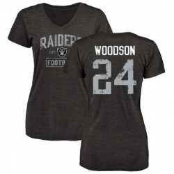 Women's Charles Woodson Oakland Raiders Black Distressed Name & Number Tri-Blend V-Neck T-Shirt