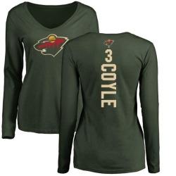 Women's Charlie Coyle Minnesota Wild Backer Long Sleeve T-Shirt - Green
