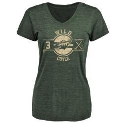 Women's Charlie Coyle Minnesota Wild Insignia Tri-Blend T-Shirt - Green
