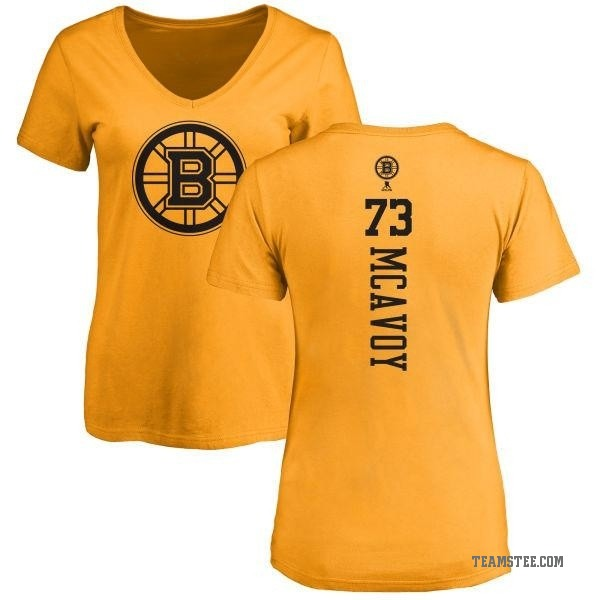 1a8ee16a7 Women's Charlie McAvoy Boston Bruins One Color Backer T-Shirt - Gold ...