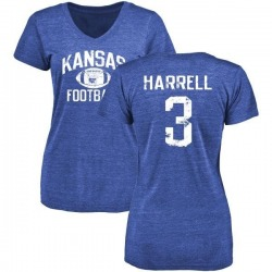Women's Chase Harrell Kansas Jayhawks Distressed Football Tri-Blend V-Neck T-Shirt - Royal