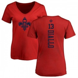 Women's Cheick Diallo New Orleans Pelicans Red One Color Backer Slim-Fit V-Neck T-Shirt