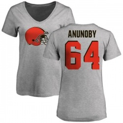 Women's Chigbo Anunoby Cleveland Browns Name & Number Logo Slim Fit T-Shirt - Ash