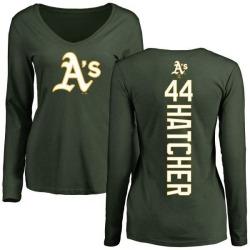 Women's Chris Hatcher Oakland Athletics Backer Slim Fit Long Sleeve T-Shirt - Green