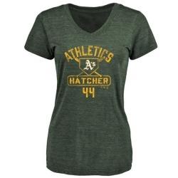 Women's Chris Hatcher Oakland Athletics Base Runner Tri-Blend T-Shirt - Green
