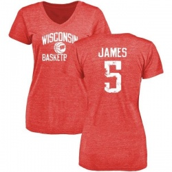 Women's Chris James Wisconsin Badgers Distressed Basketball Tri-Blend V-Neck T-Shirt - Red