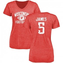 Women's Chris James Wisconsin Badgers Distressed Football Tri-Blend V-Neck T-Shirt - Red