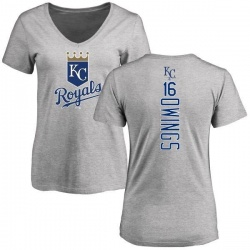 Women's Chris Owings Kansas City Royals Backer Slim Fit T-Shirt - Ash
