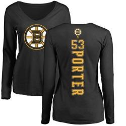 Women's Chris Porter Boston Bruins Backer Long Sleeve T-Shirt - Black