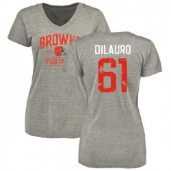 Women's Christian DiLauro Cleveland Browns Heather Gray Distressed Name & Number Tri-Blend V-Neck T-Shirt