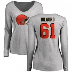 Women's Christian DiLauro Cleveland Browns Name & Number Logo Slim Fit Long Sleeve T-Shirt - Ash