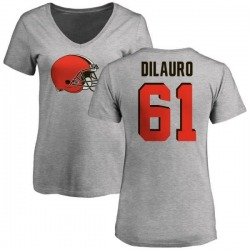 Women's Christian DiLauro Cleveland Browns Name & Number Logo Slim Fit T-Shirt - Ash