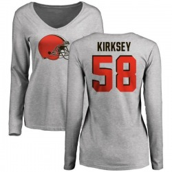 Women's Christian Kirksey Cleveland Browns Name & Number Logo Slim Fit Long Sleeve T-Shirt - Ash